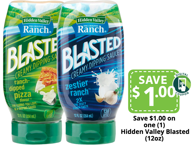 Hidden Valley Ranch Blasted Dipping Sauce packages