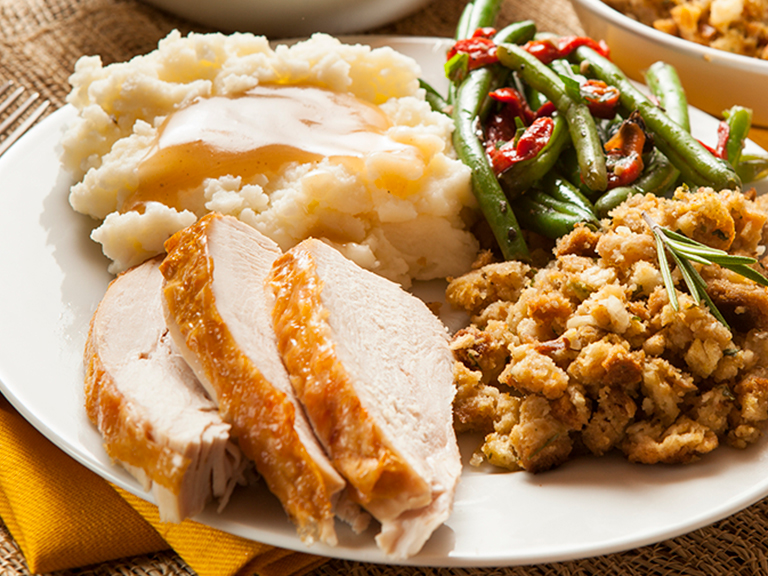 Order a freshly prepared turkey dinner for two, just heat and serve