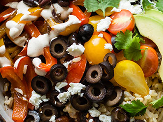 BROWN RICE VEGGIE BLACK BEAN BURRITO BOWLS