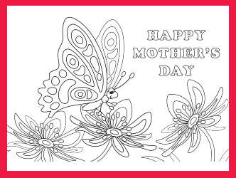 Mother's Day Butterfly coloring page