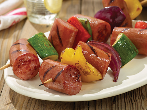 Grilled Kabobs with Smoked Sausage and Veggies
