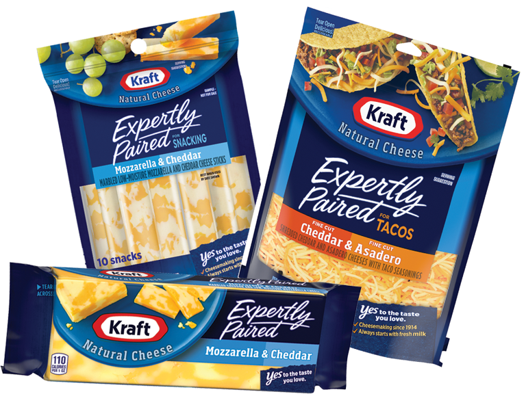 Let Kraft help with the flavor with the new Expertly Paired shredded cheeses.