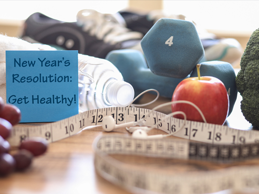 Weights, healthy food and a New Year's Resolution note