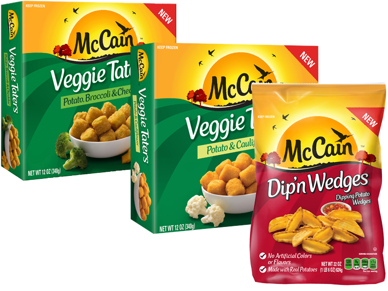 Packages of McCain Frozen Taters & Wedges