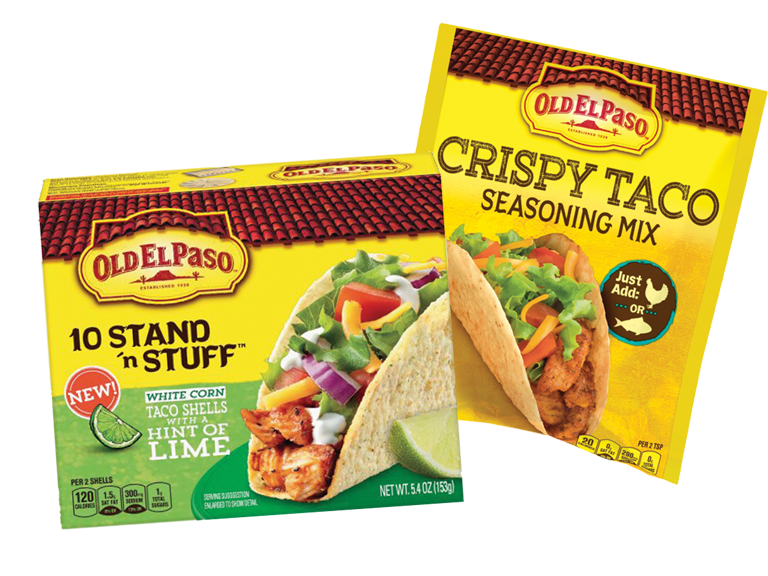 Try the new Old El Paso Crunchy Seasoning for fish or chicken or Stand 'n Stuff shells with a hint of lime.