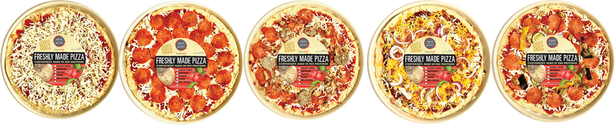 Fresh pizza made in store just for you