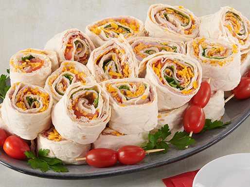platter with pinwheel wrap sandwiches