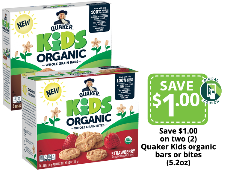 Quaker Organic Kids Bars and Bites packages