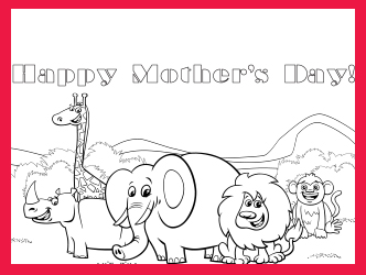 Safari Animal Mother's day card