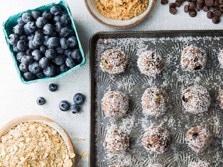 Blueberry Superfruit granola bites with ingredients