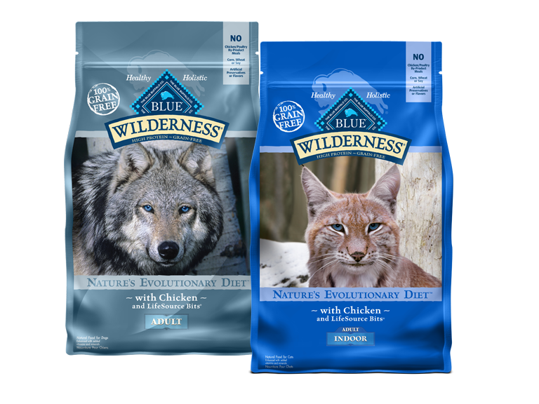 Photos of bags of blue wilderness dog and cat food