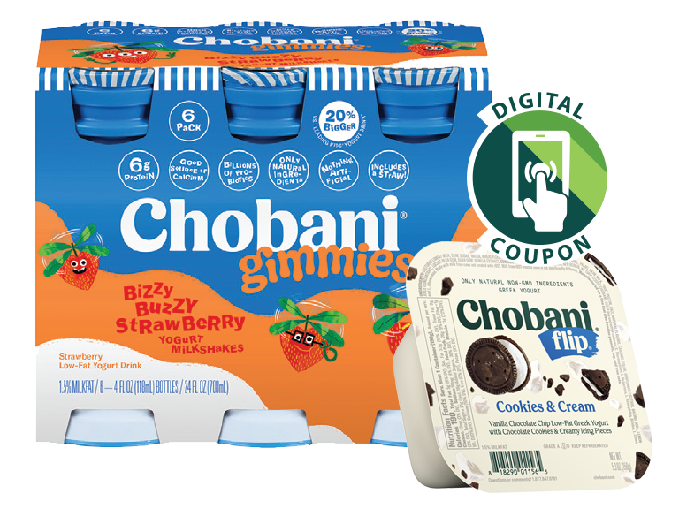 chobani yogurt and flip packages