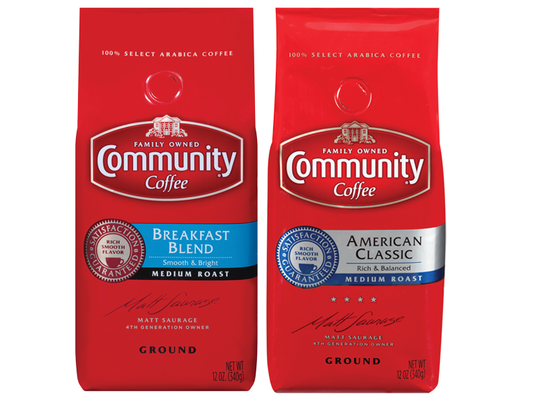 Bags of Community Coffee brand coffee