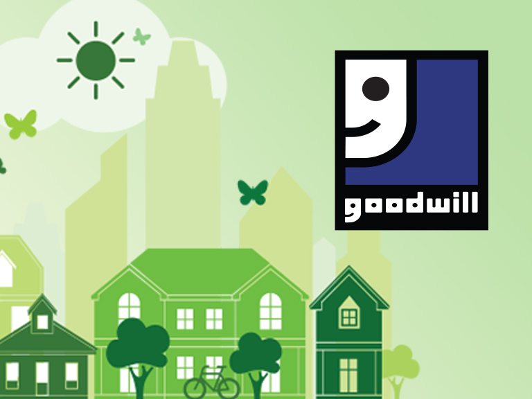Earth Day graphic showing neighborhood cityscape