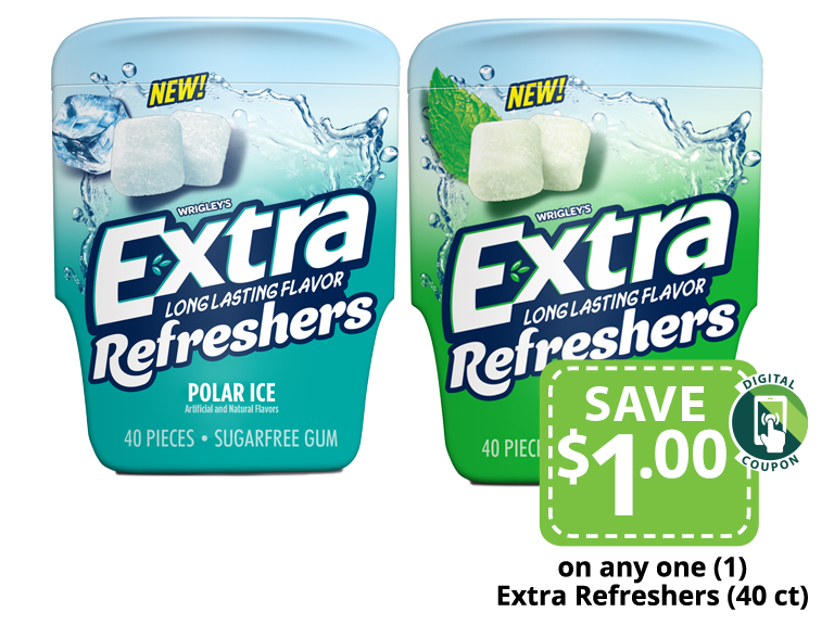 Packages of Extra Refreshers chewing gum
