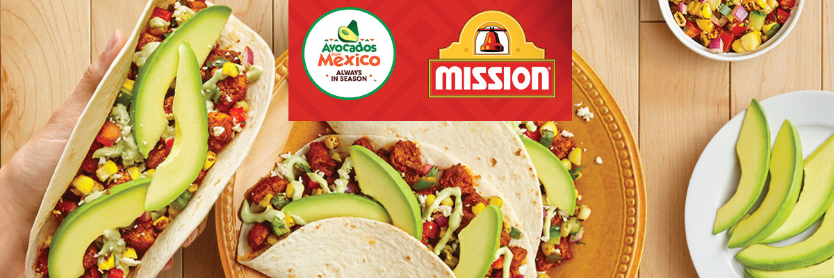 Tacos on plate with Mission and Avocados from Mexico logos