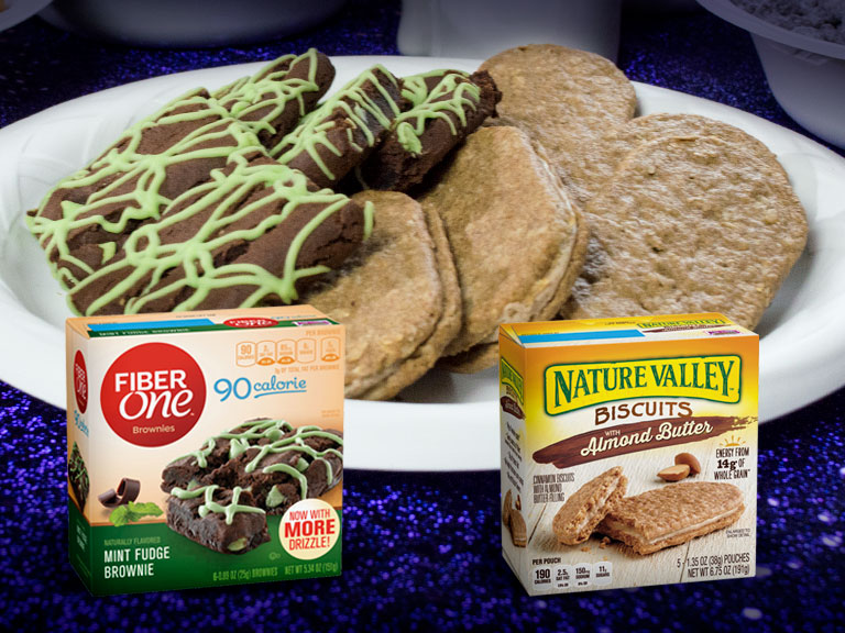 fiber one mint fudge brownies and nature valley almond butter biscuits