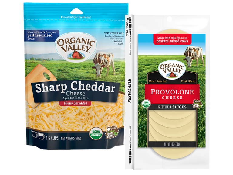 Packages of Organic Valley cheese