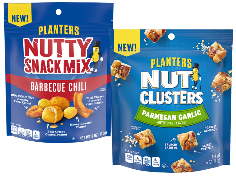 Packages of Planters Nutty Snack Mixes and Nut Clusters