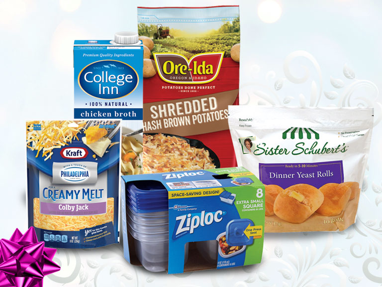 product collage foods used in holiday meals and plastic storage containers
